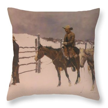 The Fall Of The Cowboy Throw Pillow