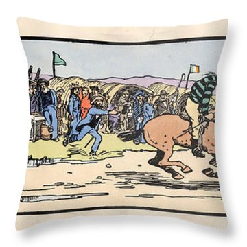 Throw Pillow featuring the painting the Finishing post. Omey, by Val Byrne