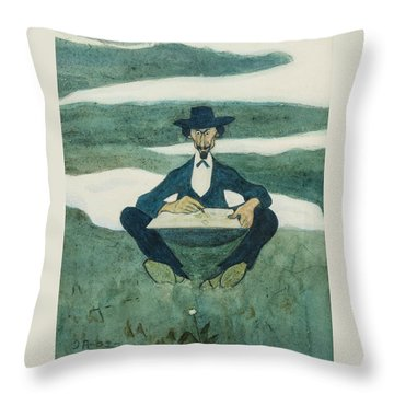 Throw Pillow featuring the drawing The First Flower Of Spring. Portrait Of Ole Kruse by Ivar Arosenius