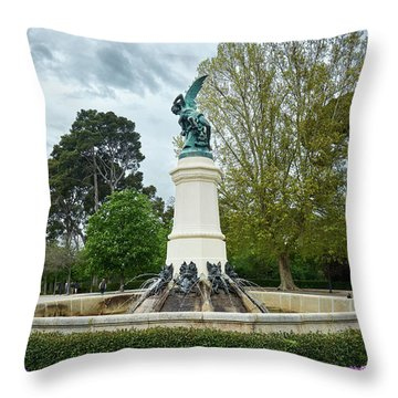 The Fountain Of The Fallen Angel In Madrid Throw Pillow