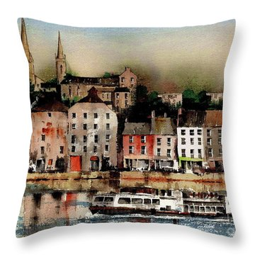 The Galley Off New Ross, Wexford Throw Pillow