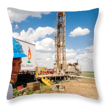 Throw Pillow featuring the photograph The Gas Man by Carl Young