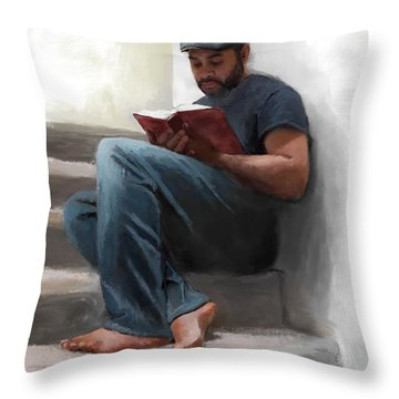 Throw Pillow featuring the digital art The Good Book by Dwayne Glapion