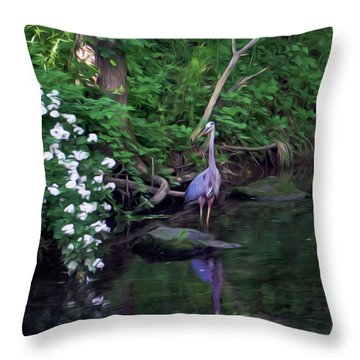 The Great Blue Heron - Impressionism Throw Pillow