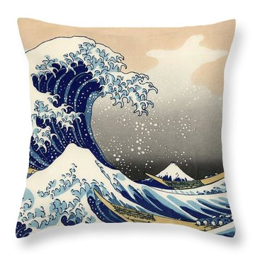 Throw Pillow featuring the photograph The Great Wave by Top Wallpapers