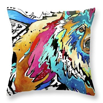The Grizzly Details Throw Pillow