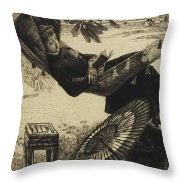 The Hammock, 1880 By Tissot Throw Pillow