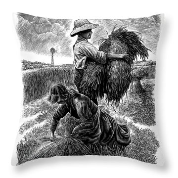 The Harvesters - Bw Throw Pillow