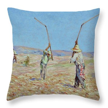 The Haymakers - Pierre Van Dijk 70x90cm Oil Throw Pillow