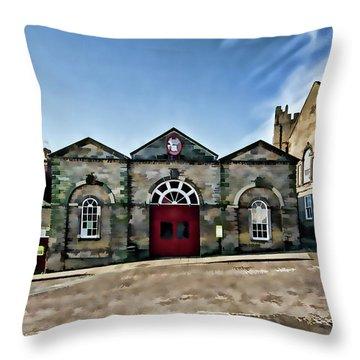 The Indoor Market Digital Painting Throw Pillow