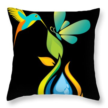 The Kissing Flower And The Butterfly On Flower Bud Throw Pillow