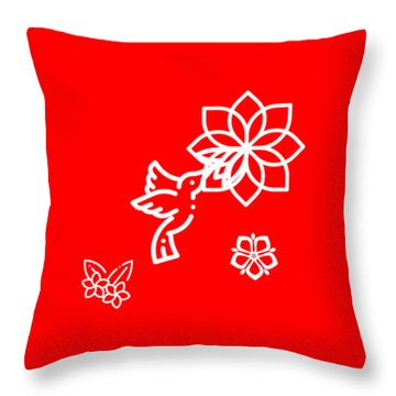 The Kissing Flower On Flower Throw Pillow