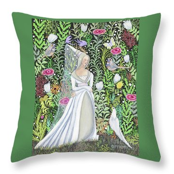 The Lady Vanity Takes A Break From Mirroring To Dream Of An Unusual Garden  Throw Pillow
