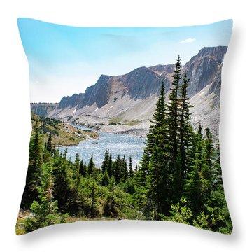 The Lakes Of Medicine Bow Peak Throw Pillow