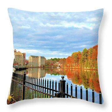 Throw Pillow featuring the photograph The Lamprey River by Debbie Stahre