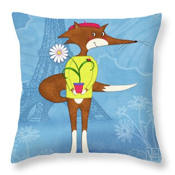 The Letter F For French Fox Throw Pillow