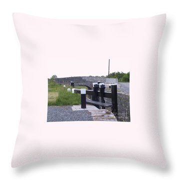 Throw Pillow featuring the painting The Locks At Cloondara, Co. Longford by Val Byrne
