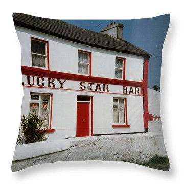 Throw Pillow featuring the painting The Lucky Star Bar, Kilronan, Aran by Val Byrne
