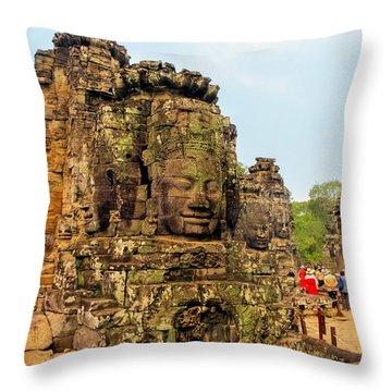 The Many Faces At Bayon Temple, Angkor, Cambodia Throw Pillow