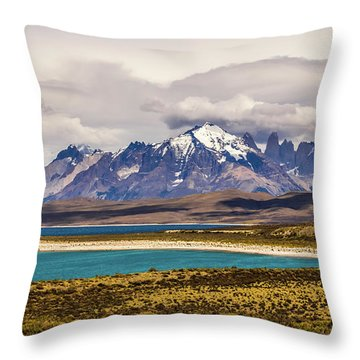 The Mountains Of Torres Del Paine National Park, Chile Throw Pillow