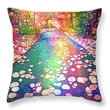The Path Where Rainbows Meet Throw Pillow