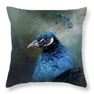 The Peacock's Crown Throw Pillow