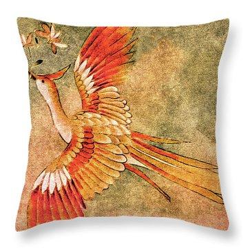The Peahen's Gift - Kimono Series Throw Pillow