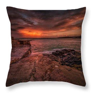 The Pier Sunset Throw Pillow