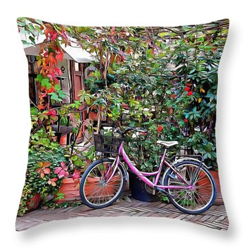 Throw Pillow featuring the photograph The Pink Bicycle by Dorothy Berry-Lound