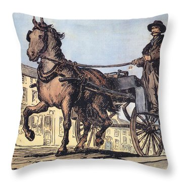 Throw Pillow featuring the painting The Post Car, Clifden, Galway by Val Byrne