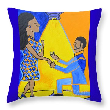 Throw Pillow featuring the painting The Proposal by Christopher Farris