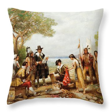 The Purchase Of Manhattan Throw Pillow