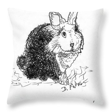 The Rabbit Lady Drawing Throw Pillow