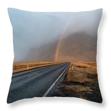 The Rainbow Road Throw Pillow