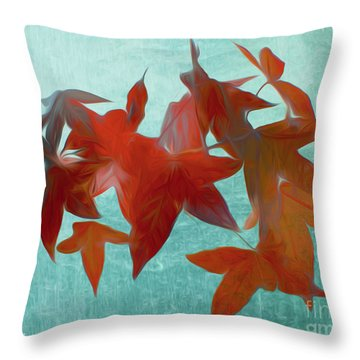 The Red Leaves Throw Pillow
