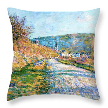The Road To Vetheuil - Digital Remastered Edition Throw Pillow