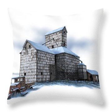 The Ross Elevator Winter Throw Pillow