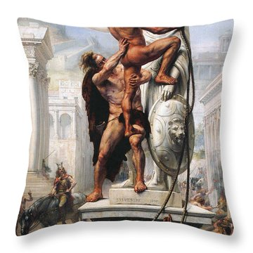 The Sack Of Rome By Visigoths In 410 Throw Pillow