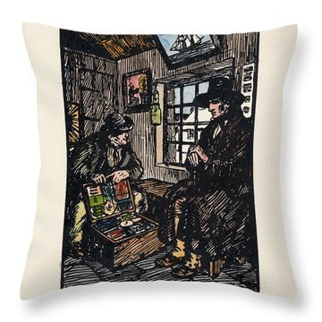 Throw Pillow featuring the painting The Sales Man by Val Byrne