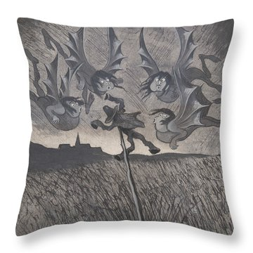 Throw Pillow featuring the drawing The Scarecrow And The Four Winds by Ivar Arosenius
