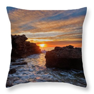 The Sea In Oropesa At Sunrise On The Orange Blossom Coast Throw Pillow