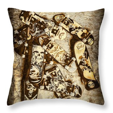 The Skateboard Globe Trotters Throw Pillow