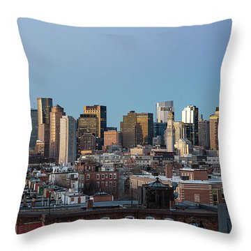 The Skyline Of Boston In Massachusetts, Usa On A Clear Winter Ev Throw Pillow