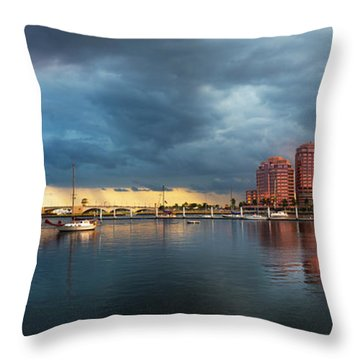 The Skyline Of West Palm Beach At Sunset Throw Pillow