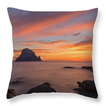 The Sunset On The Island Of Es Vedra, Ibiza Throw Pillow