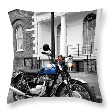 The T100r Daytona Classic Motorcycle Throw Pillow