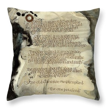 The Tale Of Two Wolves Throw Pillow