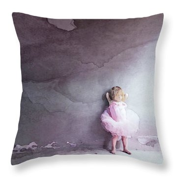 Throw Pillow featuring the mixed media Pink Tutu by Susan Maxwell Schmidt