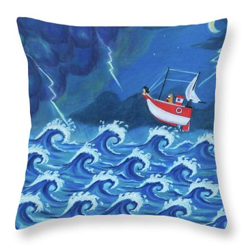 The Tiny Ship Was Tossed Throw Pillow