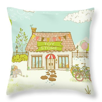 The Toy Store Throw Pillow